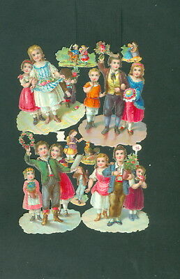 Victorian Die Cut Scrap Very old CHILDS complet set   ORIGINAL #16