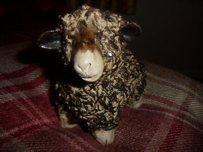 Amazing Hand Crafted Studio Pottery Ram Sheep Figurine .... signed.