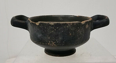 Antique Neoclassical Roman Greek Black Ware Bowl Dish ANtiquity Pottery