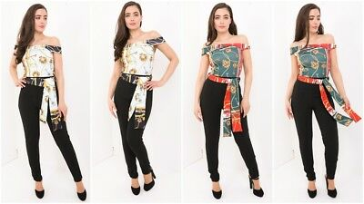 Womens Ladies Off Shoulder Bardot Tailored Scarf Paisley Party Jumpsuit Romper