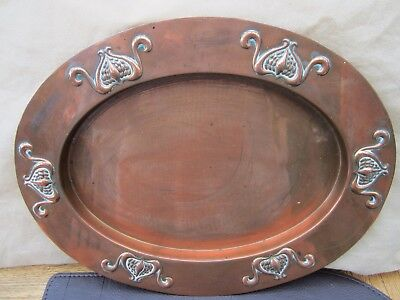 Antique Oval Copper Tray Arts and Crafts