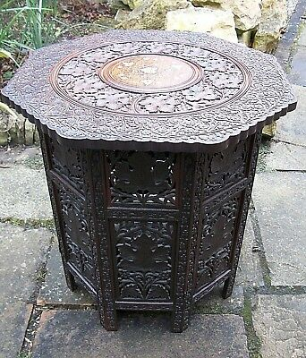 Large  Antique Octagonal Inlaid Folding  Anglo/ Indian   Side Table