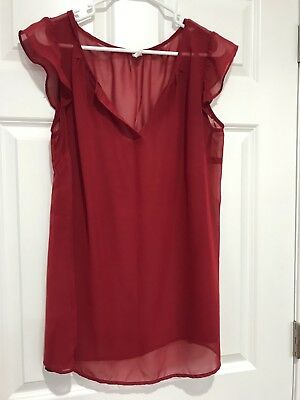Old Navy Womens Maternity short-sleeve Sheer Blouse Top Red/Burgundy size Medium