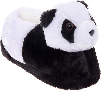 Silver Lilly Panda Bear Plush Animal House Slippers w/ Comfort Foam Support