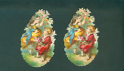Victorian  Die Cut Scrap Very old    ORIGINAL GIRL AND BOY