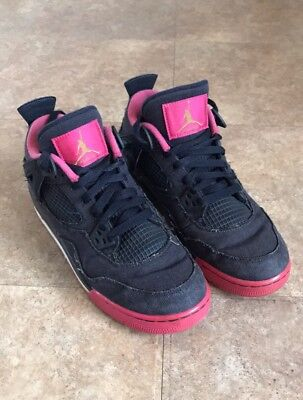 Nike Air Jordan 4 Retro GG 487724-408 Denim Dark Obsidian Pink Size 6Y