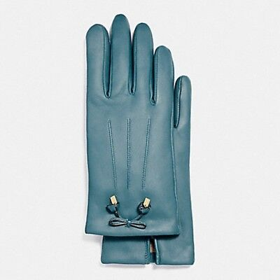 Coach Dark Teal Women's Bow Leather Wool Lined Gloves F20887 Sz 6.5 -NWT $135