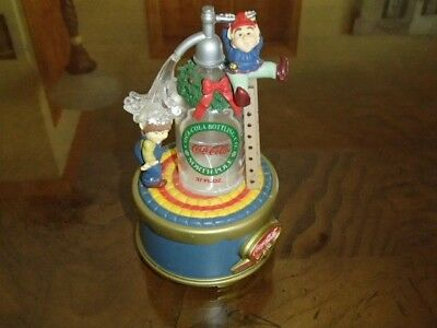 "Coca-Cola Bottling Elves Music Box 6"" Tall 1995 Authorized Coke"