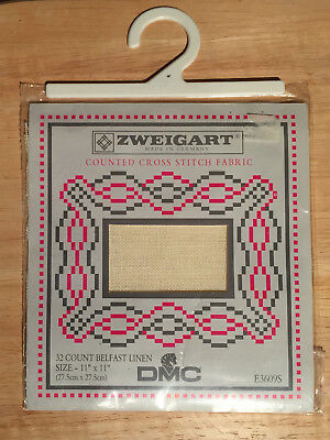 "Zweigart Dmc 32 Count Belfast Linen 11"" X 11"" Counted Cross Stitch Fabric *new**"