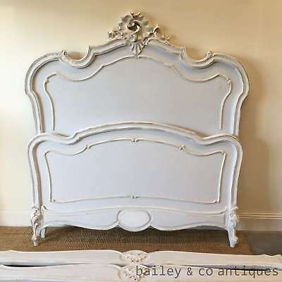 French Vintage Double Bed Louis Style Painted Duck Egg Blue - BED