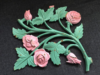 Vintage CAST IRON Roses & Leaves Wall decoration ANTIQUE Architectural Salvage