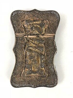 Nice 19Th C.century Chinese Silver Filigree Card Case