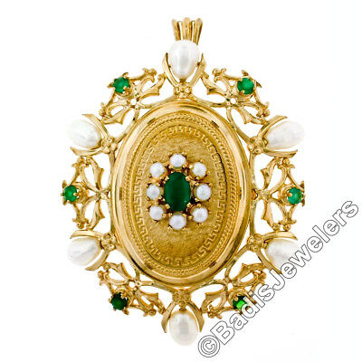 Vintage 18k Gold Faceted Green Onyx & Pearl Open Detailed Etched Locket Pendant
