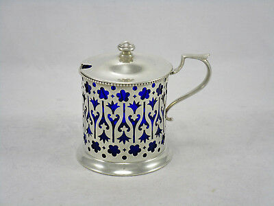 Antique Continental Sterling Silver Reticulated Mustard Pot w/Cobalt Blue Glass