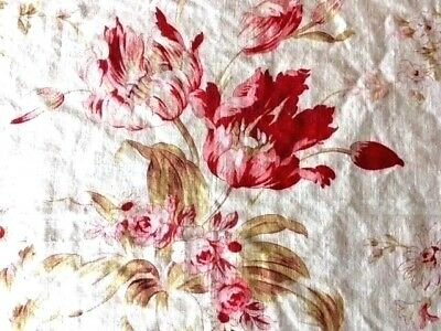 Antique French Fabric Floral Pink Roses Tulips Vintage Material