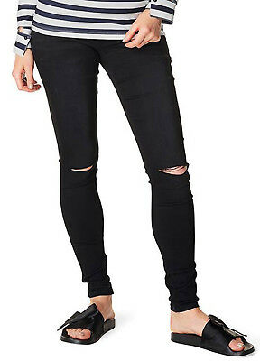 NEW - Supermom - Ripped Skinny Black Maternity Pregnancy Jeans