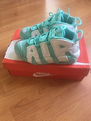 Nike Air More Uptempo Gs Sz 4Y Island Green Mint White Pippen Kids