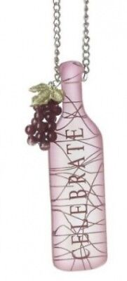 """Tuscan Winery """"CELEBRATE"""" Wine Bottle with GrapesTag Christmas Ornament 13cm"""