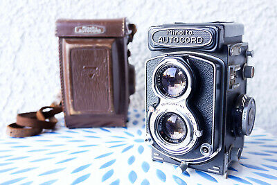 Minolta Autocord TLR Camera w/ Rokkor 75mm f3.5 Lens and Original Leather Case