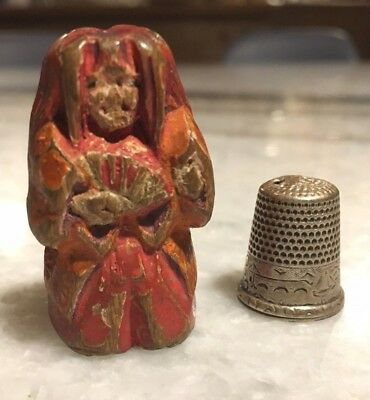 Antique Wooden Japanese Netsuke of a Nara Ningyo (ningyō) Doll - Edo Period