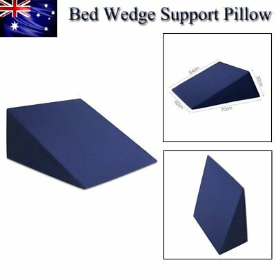 Memory Foam Bed Wedge Pillow Cushion Neck Back Support Sleep Washable Cover Blue
