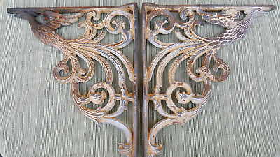 Antique cast iron PHOENIX huge shelf supports beautifully detailed and heavy