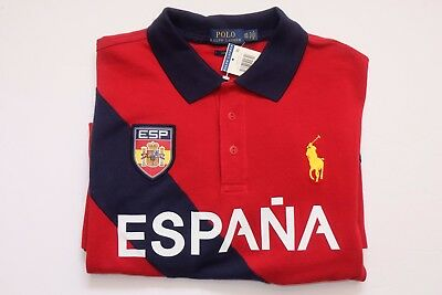 NWT Authentic Polo Ralph Lauren ESPANA Spain Short Sleeve Polo Shirt, Custom Fit