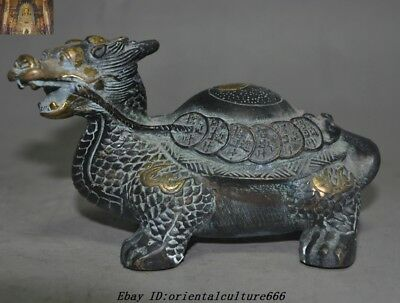 Old China Fengshui Bronze gilt Money Wealth lucky Dragon Turtle Tortoise Statue