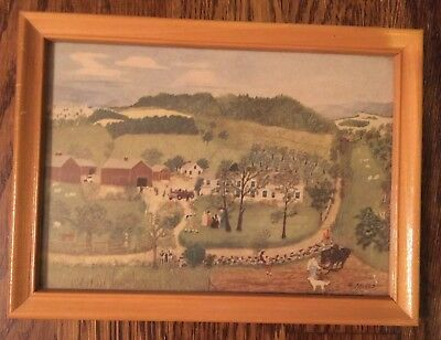VINTAGE GRANDMA MOSES FRAMED LITHOGRAPH PRINT Goes to the Big City - 5x7