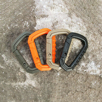 Carabiner D-Ring Key Chain Clip Hook Molle Camping Buckle Snap Plastic 3.43in N