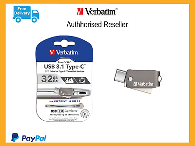 ($0 P&H) Verbatim USB-C Smartphone/Tablet Dual 32gb USB Drive 64905