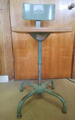 VINTAGE Architect Drafting Industrial Machine Adjustable Chair Stool