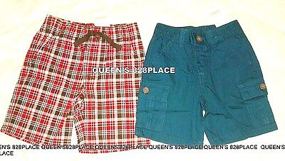 Nwt Gymboree Boys Lot Size 2 2T 2-PC Shorts Red plaid & Blue Cargo  Set New