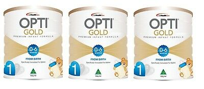 3 x 900g Opti Gold Infant Formula Stage 1 from birth to 6 months Australian Made
