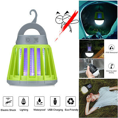 2 In 1 Mosquito Zapper & LED Lamp For Camping Tent Porch Patio & Yard USB Rec...