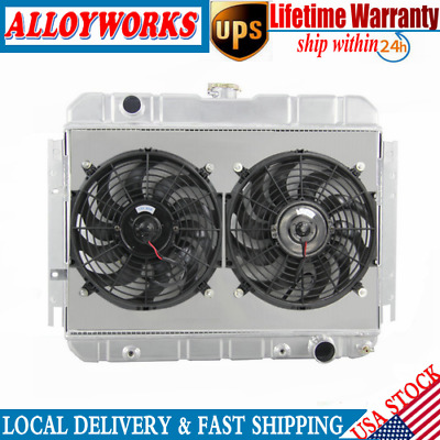 4Row Alloy Radiator + Shroud+Fan For 60-67 Chevy Chevelle/Bel-Air/Biscayne L6 V8