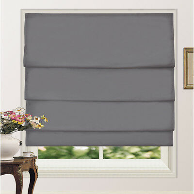 Pleated Roman Shade Blind 100% Blackout Microfiber Fabric With Coating 4Colors