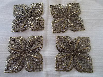 4 x square metal flower embellishments , anitque bronze colour, 3.6cm x 3.6cm