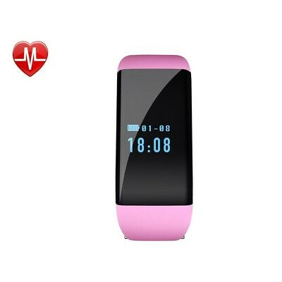 (Pink) - Fitness Tracker with Heart Rate Monitor, Wireless Bluetooth