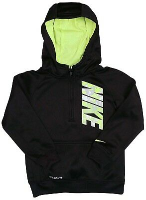 (4, Black/Volt) - Nike Little Boy's Black Fleece Lined Therma-fit Pullover