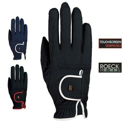 (8, black-white) - Roeckl - ladies contrast riding gloves LONA. Free Delivery
