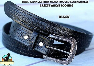 35-36 Black Handmade Basket Weave Tool Western Leather Mens Belt 2609Rs02Bk1