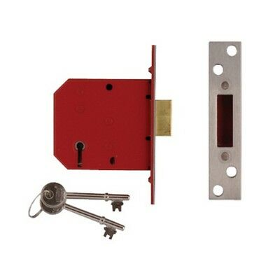 UNION J2101-PL-2.50 5 Lever Mortice Deadlock Satin Brass Finish 65mm 2.5in