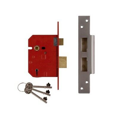 UNION J2234E-SC-2.50 5 Lever BS Mortice Sashlock Satin Chrome Finish 67mm 2.5in