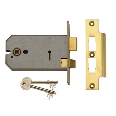 UNION Y2077-SC-5.00 3 Lever Horizontal Mortice Lock Satin Chrome 124mm