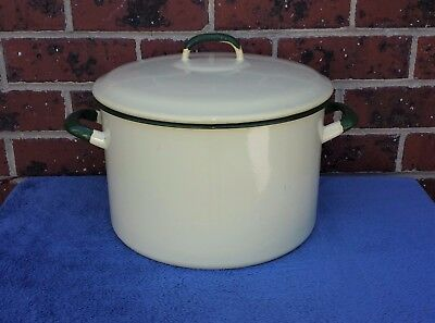 Vintage large STOCK POT Enamel Ware Canister - Cream and Green