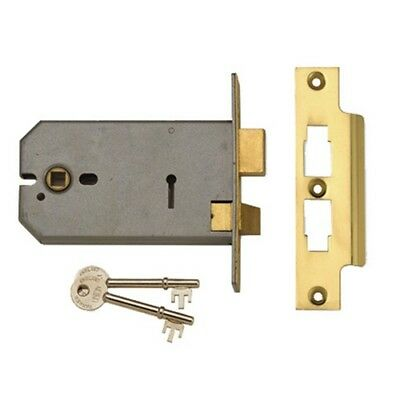UNION Y2077-PL-5.00 3 Lever Horizontal Mortice Lock Polished Brass 124mm