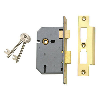 Union Y-2277-PL-3.00 3 Lever Mortice Sashlock Polished Brass 77.5mm 3in