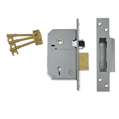 UNION V-3K74E-PL-80 C-Series 5 Lever Mortice Rollerbolt Sashlock Brass 80mm