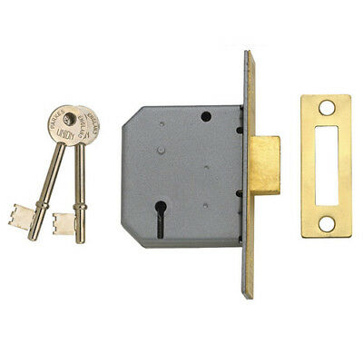 Union Y-2177-SC-2.50 3 Lever Mortice Deadlock Satin Chrome 65mm 2.5in